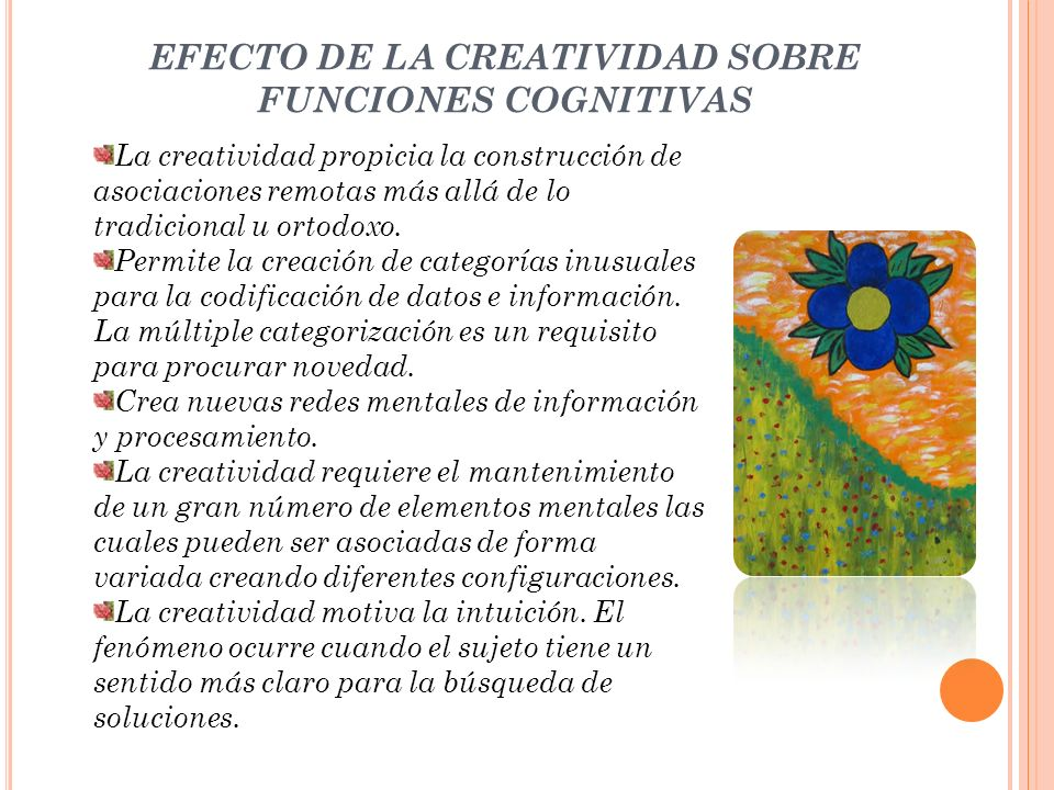EFECTO DE LA CREATIVIDAD SOBRE FUNCIONES COGNITIVAS