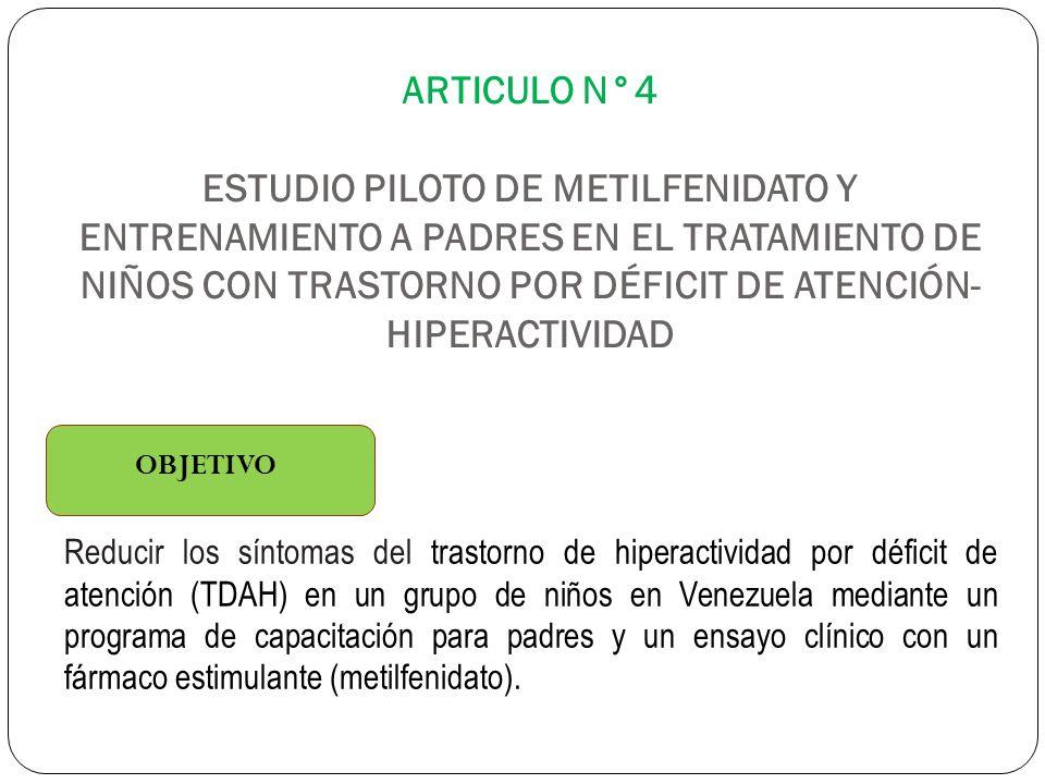 ARTICULO N°4 ESTUDIO PILOTO DE METILFENIDATO Y ENTRENAMIENTO A PADRES EN EL TRATAMIENTO DE NIÑOS CON TRASTORNO POR DÉFICIT DE ATENCIÓN-HIPERACTIVIDAD