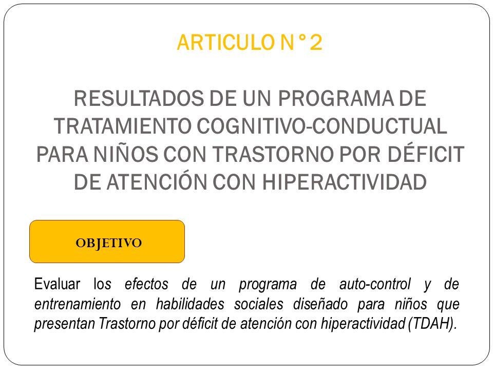 ARTICULO N°2 RESULTADOS DE UN PROGRAMA DE TRATAMIENTO COGNITIVO-CONDUCTUAL PARA NIÑOS CON TRASTORNO POR DÉFICIT DE ATENCIÓN CON HIPERACTIVIDAD