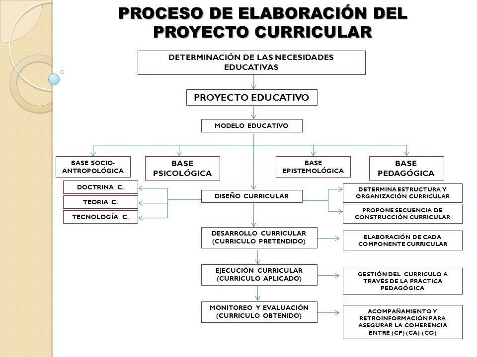 PROCESO DE ELABORACIÓN DEL PROYECTO CURRICULAR