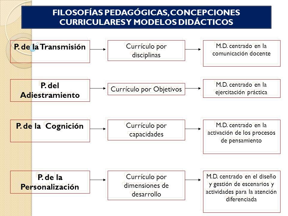 FILOSOFÍAS PEDAGÓGICAS, CONCEPCIONES CURRICULARES Y MODELOS DIDÁCTICOS