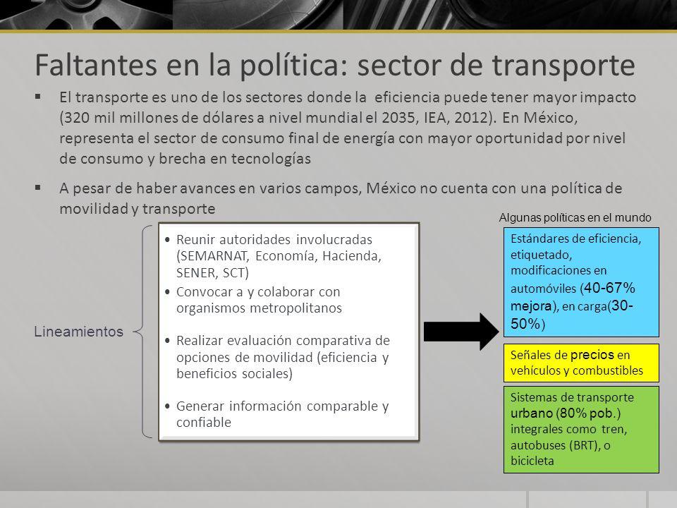 Faltantes en la política: sector de transporte