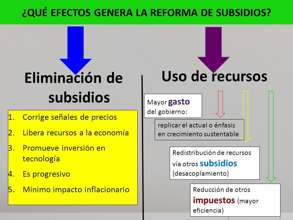 ¿QUÉ EFECTOS GENERA LA REFORMA DE SUBSIDIOS Eliminación de subsidios