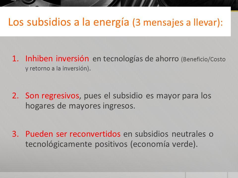 Los subsidios a la energía (3 mensajes a llevar):