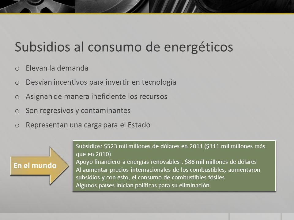Subsidios al consumo de energéticos