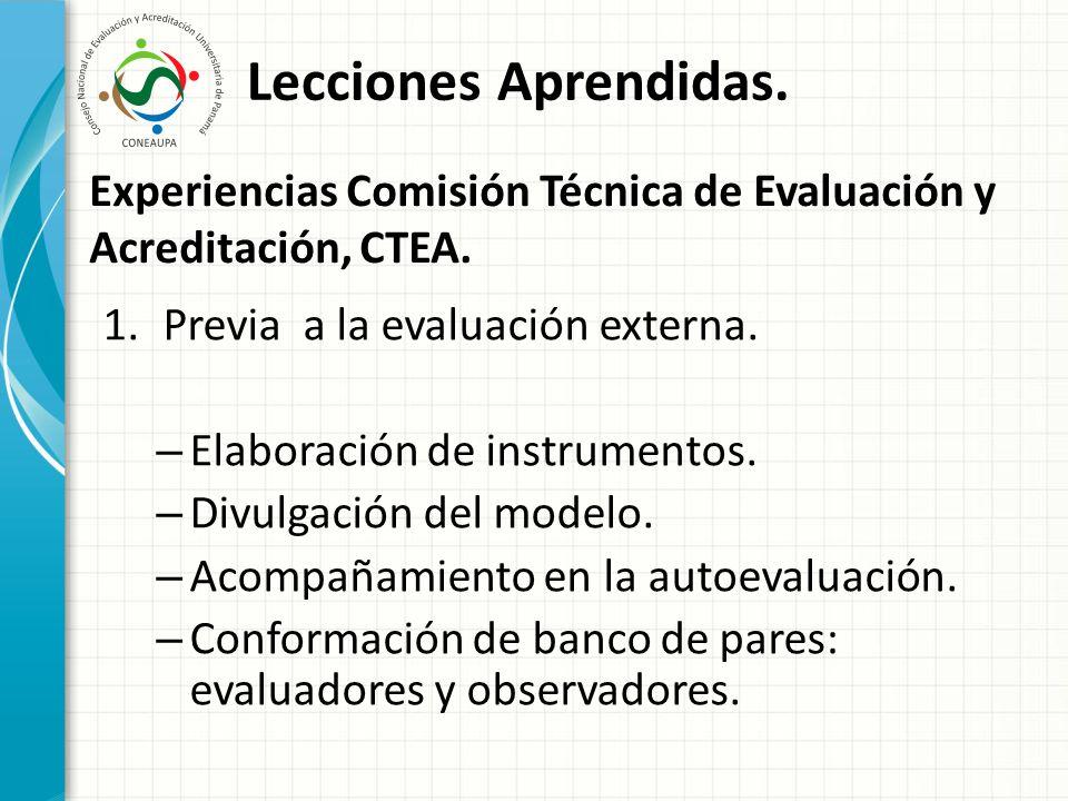 Experiencias Comisión Técnica de Evaluación y Acreditación, CTEA.