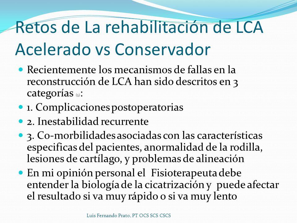 Retos de La rehabilitación de LCA Acelerado vs Conservador