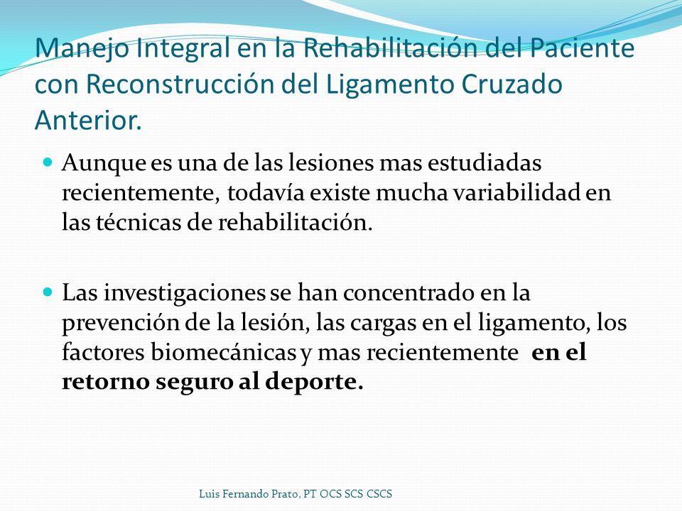 Manejo Integral en la Rehabilitación del Paciente con Reconstrucción del Ligamento Cruzado Anterior.