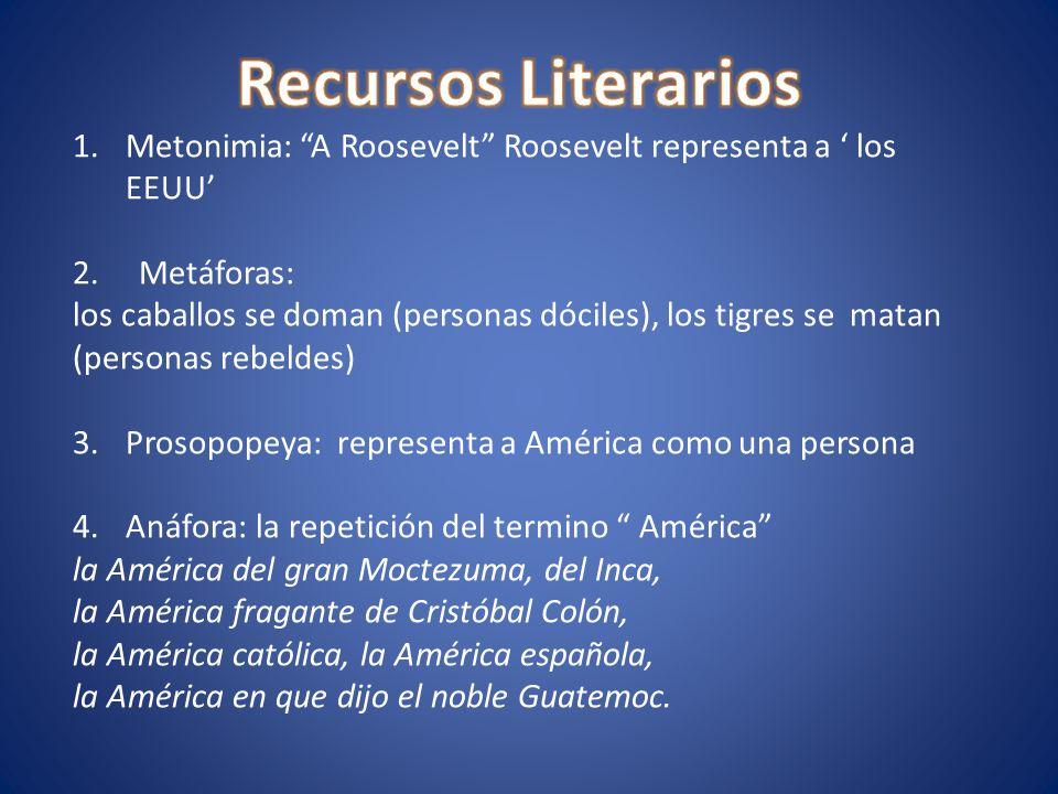 Recursos Literarios Metonimia: A Roosevelt Roosevelt representa a ' los EEUU' 2. Metáforas: