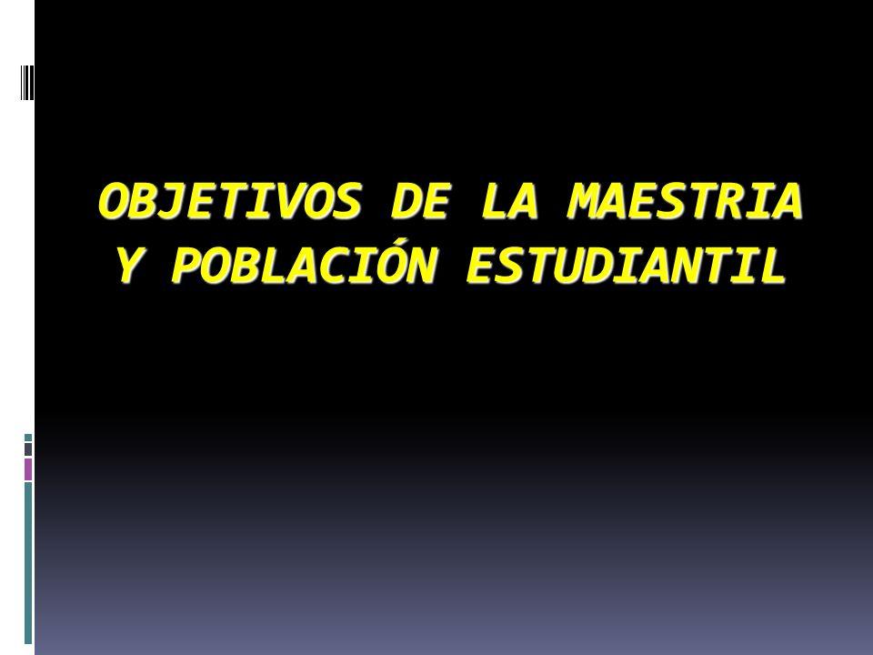 OBJETIVOS DE LA MAESTRIA Y POBLACIÓN ESTUDIANTIL