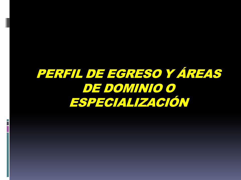 PERFIL DE EGRESO Y ÁREAS DE DOMINIO O ESPECIALIZACIÓN