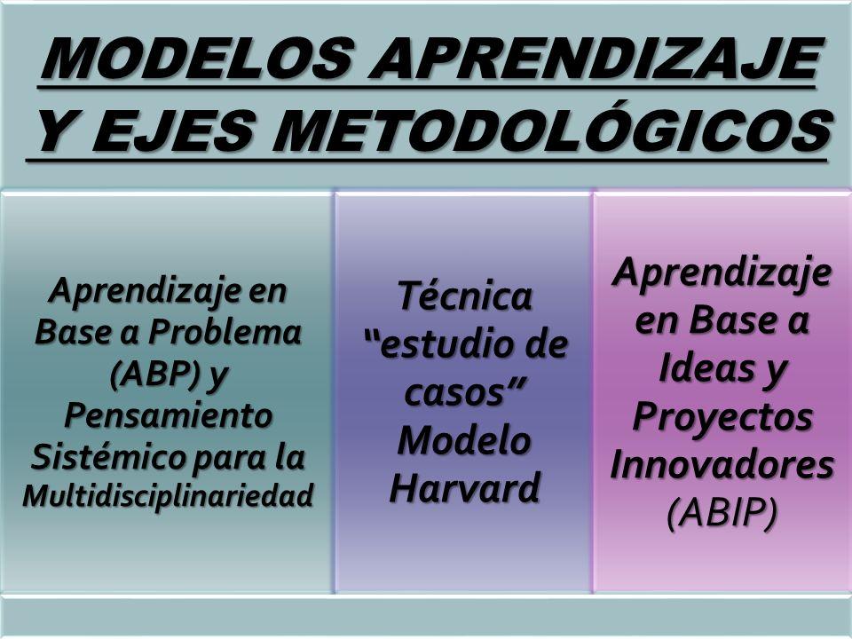 MODELOS APRENDIZAJE Y EJES METODOLÓGICOS