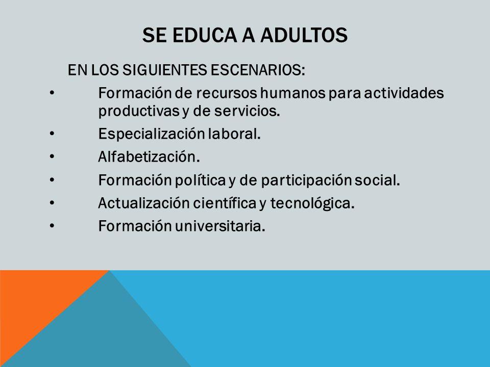 SE EDUCA A ADULTOS EN LOS SIGUIENTES ESCENARIOS: