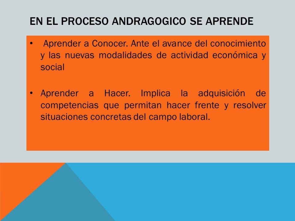 EN EL PROCESO ANDRAGOGICO SE APRENDE