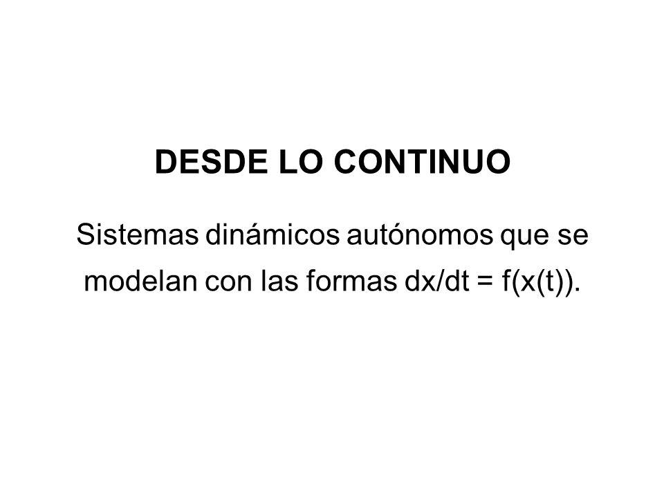 DESDE LO CONTINUO Sistemas dinámicos autónomos que se modelan con las formas dx/dt = f(x(t)).