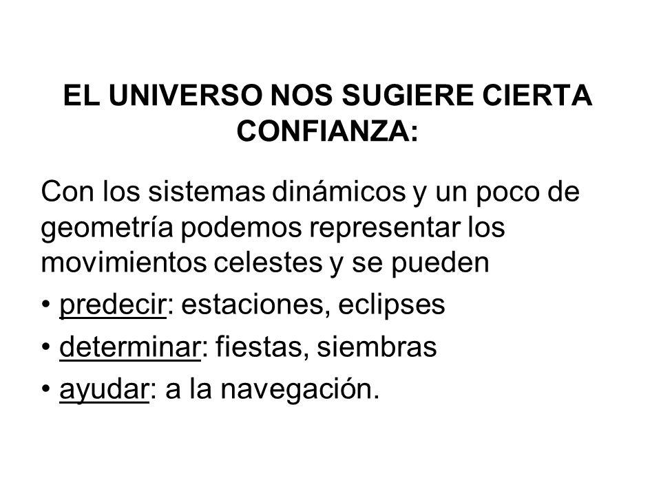EL UNIVERSO NOS SUGIERE CIERTA CONFIANZA:
