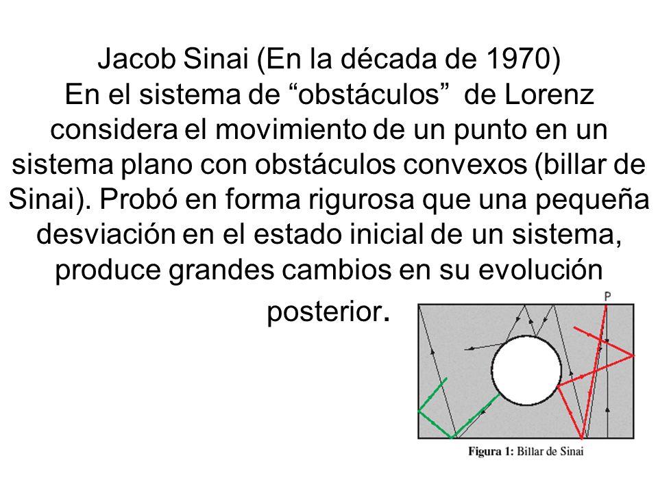 Jacob Sinai (En la década de 1970) En el sistema de obstáculos de Lorenz considera el movimiento de un punto en un sistema plano con obstáculos convexos (billar de Sinai).