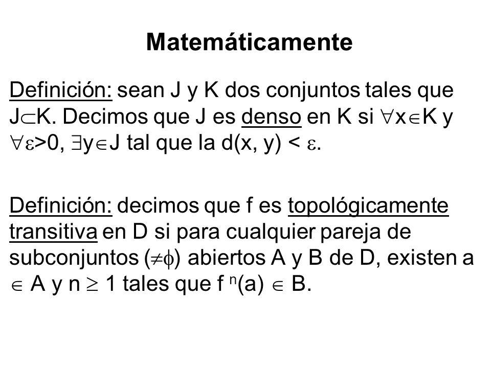 Matemáticamente Definición: sean J y K dos conjuntos tales que JK. Decimos que J es denso en K si xK y >0, yJ tal que la d(x, y) < .
