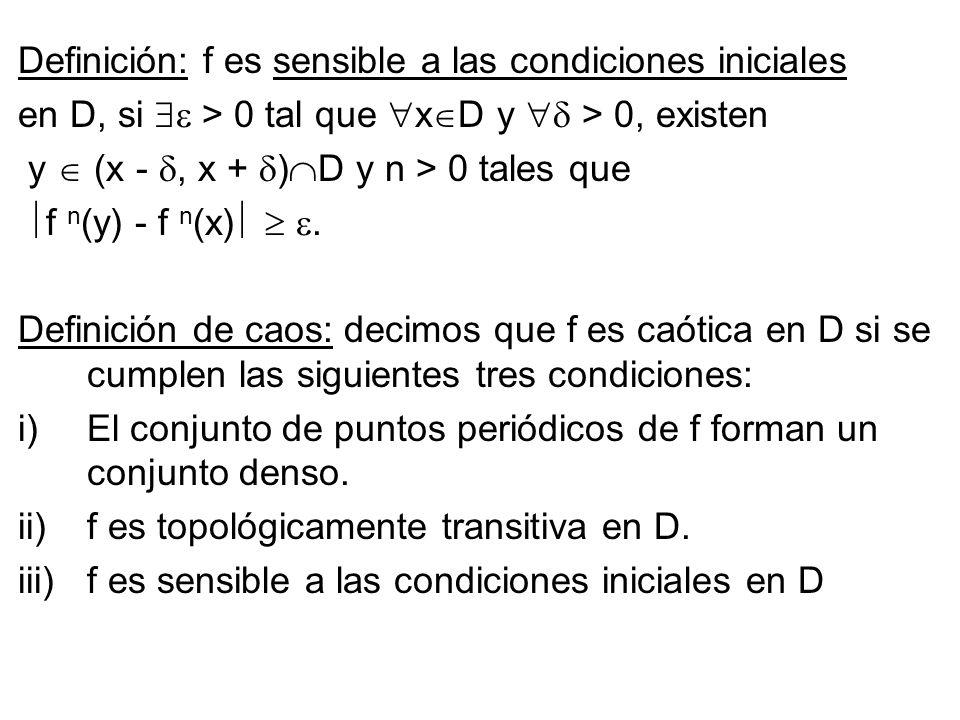 Definición: f es sensible a las condiciones iniciales