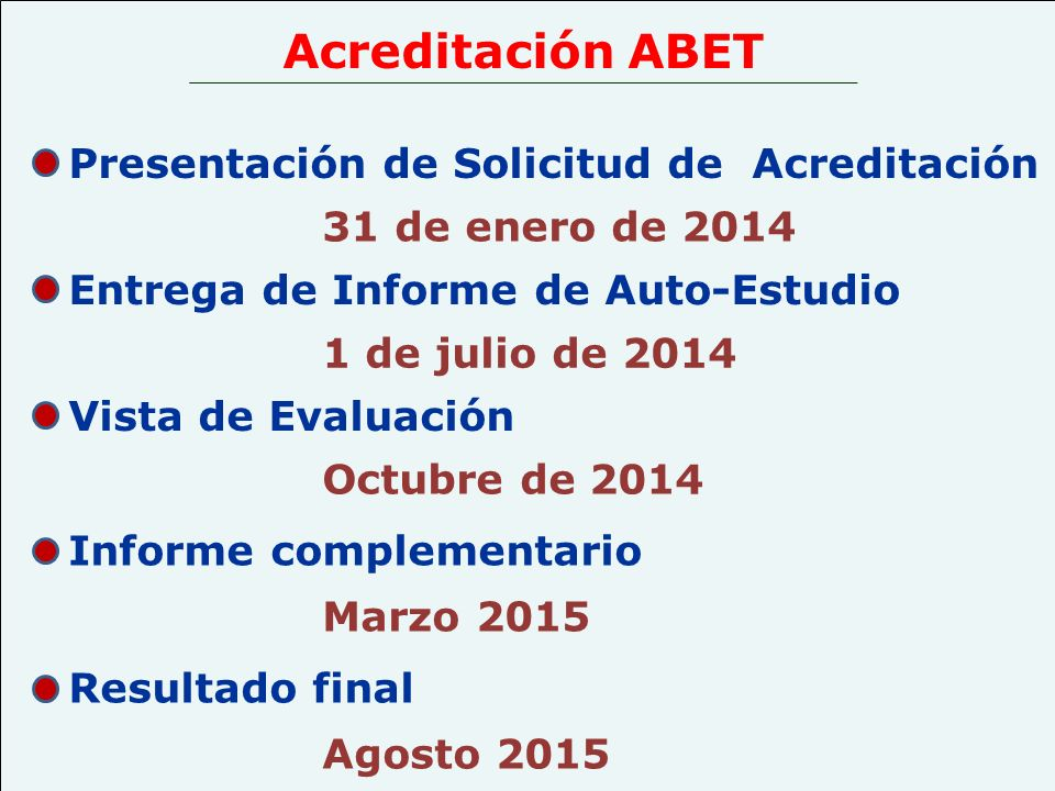 Acreditación ABET Presentación de Solicitud de Acreditación
