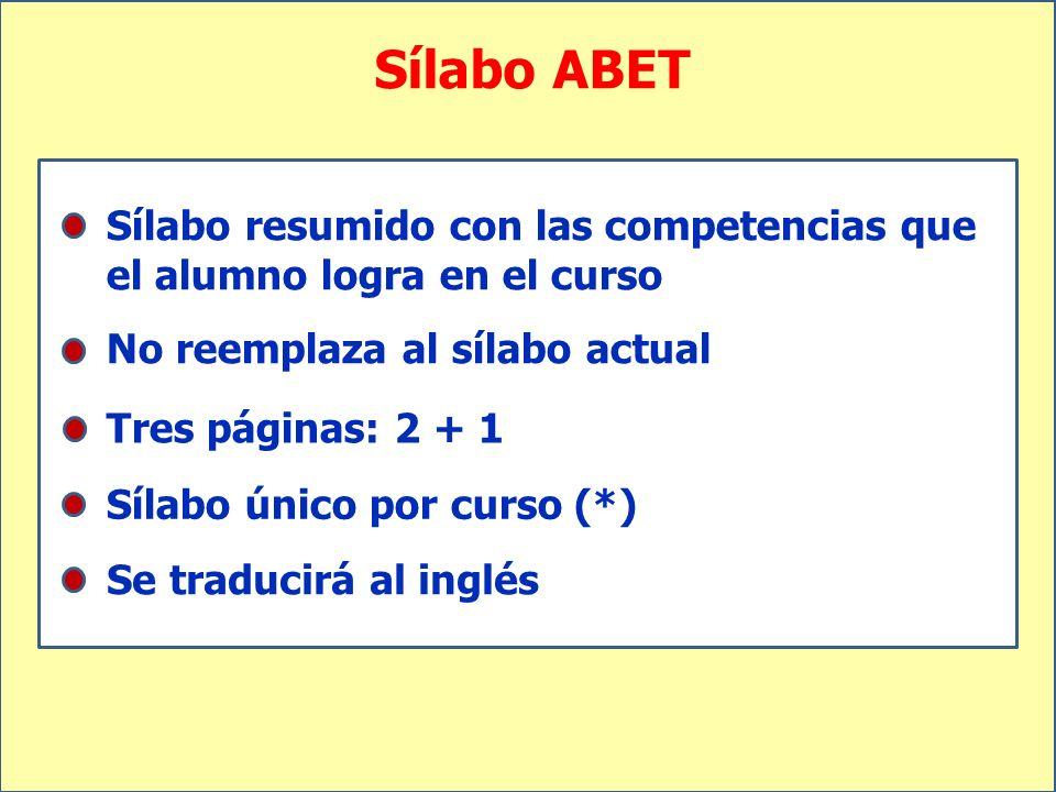 Sílabo ABET Sílabo resumido con las competencias que el alumno logra en el curso. No reemplaza al sílabo actual.