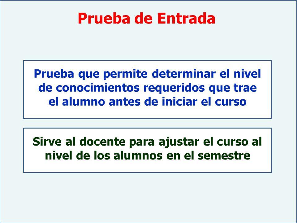 Prueba de Entrada Prueba que permite determinar el nivel de conocimientos requeridos que trae el alumno antes de iniciar el curso.