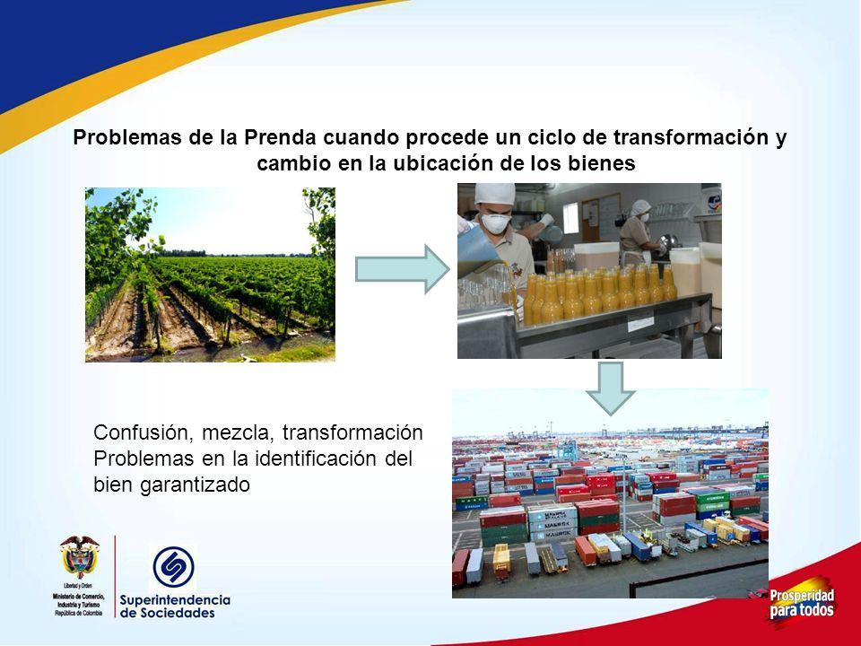 Problemas de la Prenda cuando procede un ciclo de transformación y cambio en la ubicación de los bienes