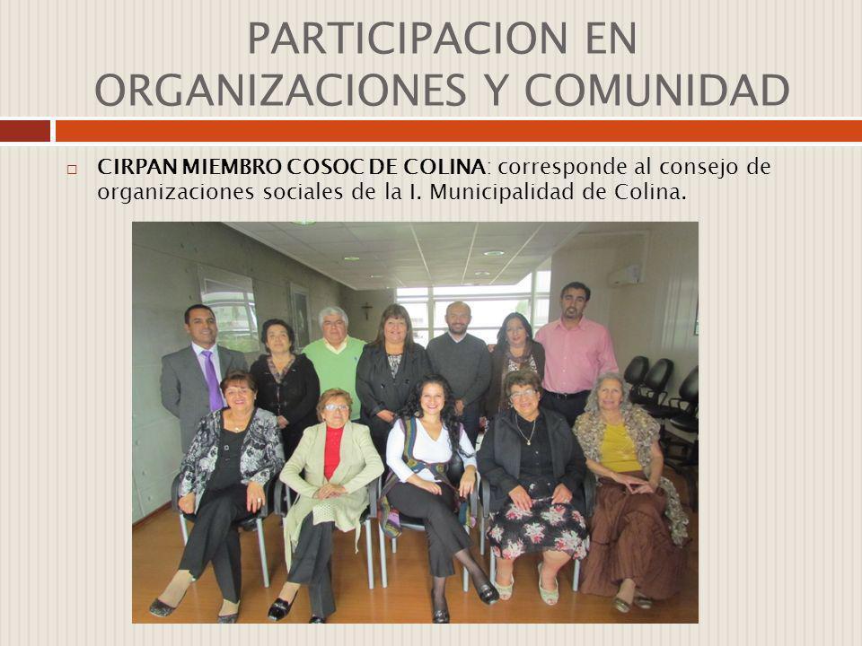 PARTICIPACION EN ORGANIZACIONES Y COMUNIDAD