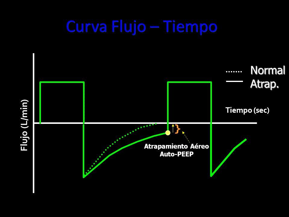 Curva Flujo – Tiempo Normal Atrap. Flujo (L/min) } Tiempo (sec)