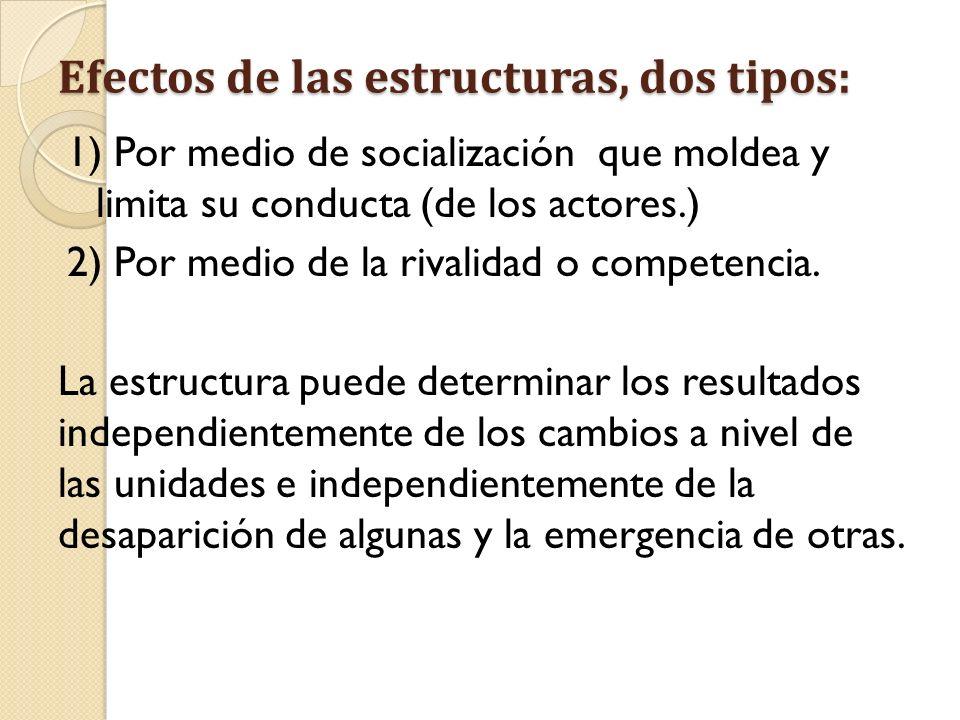 Efectos de las estructuras, dos tipos: