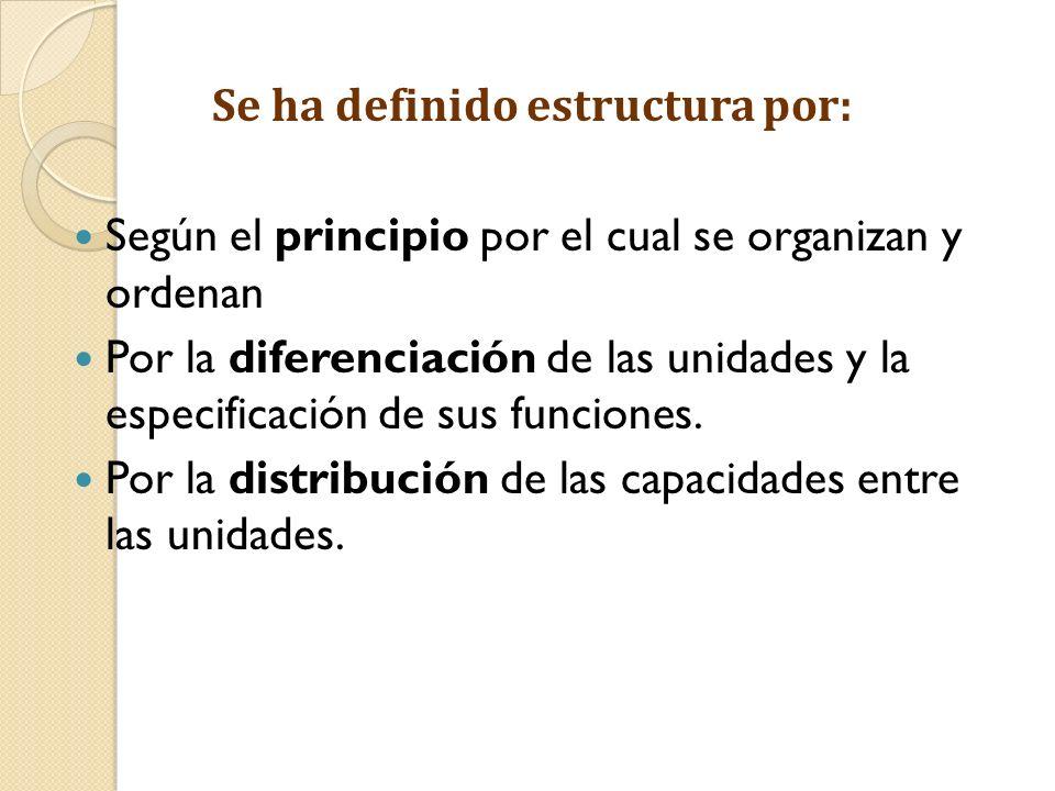 Se ha definido estructura por: