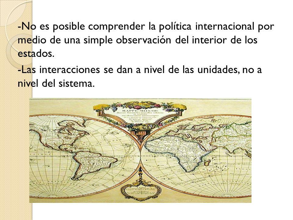 -No es posible comprender la política internacional por medio de una simple observación del interior de los estados.