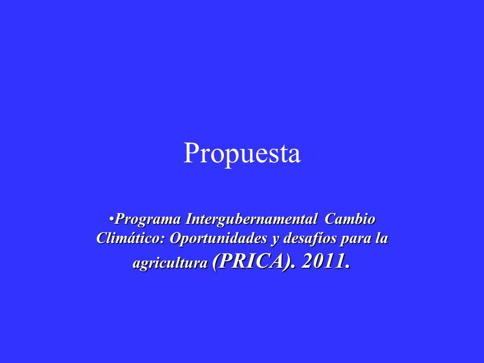 Propuesta Programa Intergubernamental Cambio Climático: Oportunidades y desafíos para la agricultura (PRICA).