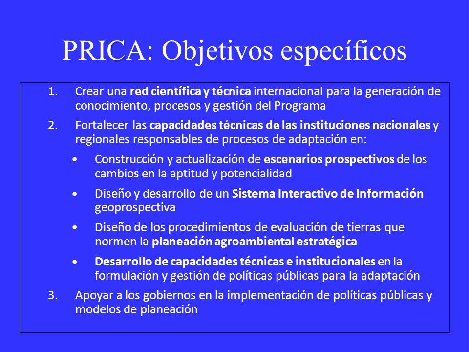 PRICA: Objetivos específicos