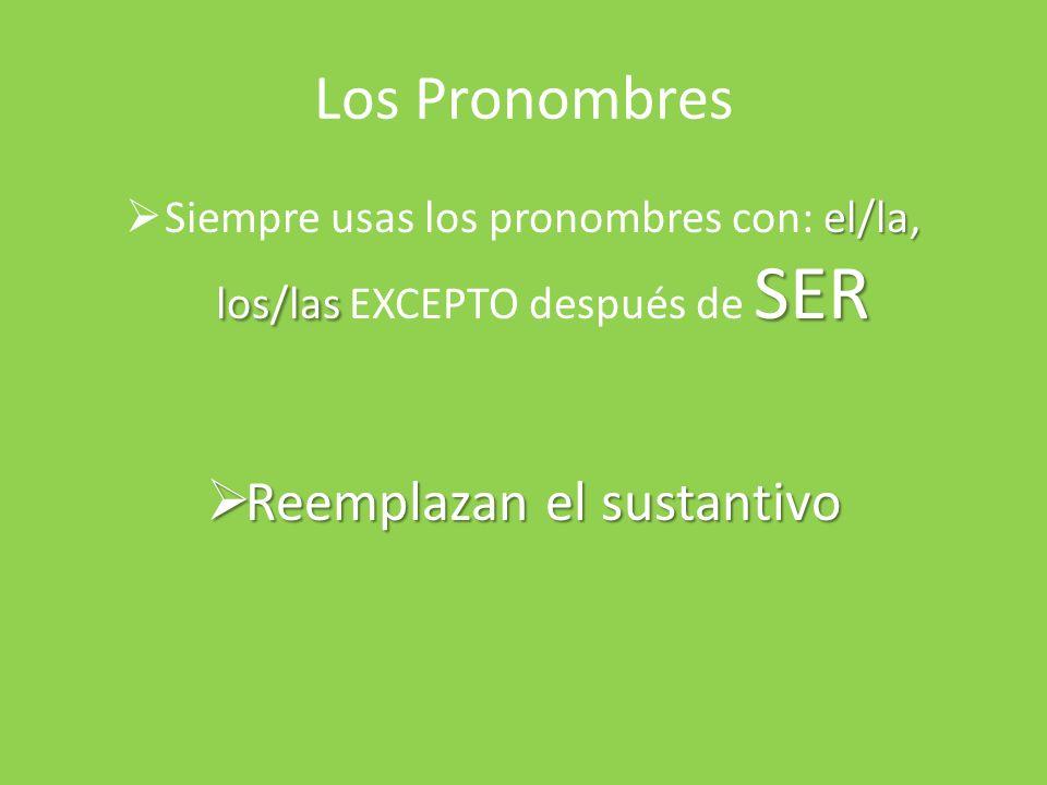 Los Pronombres Reemplazan el sustantivo