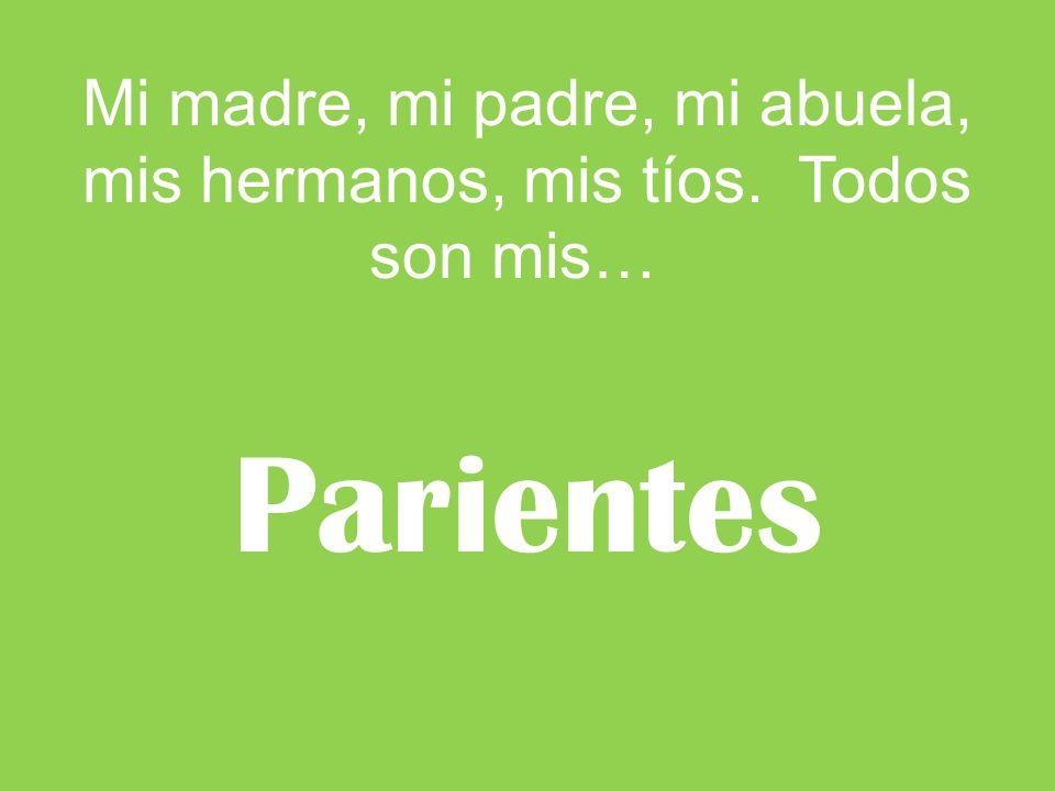 Mi madre, mi padre, mi abuela, mis hermanos, mis tíos. Todos son mis…