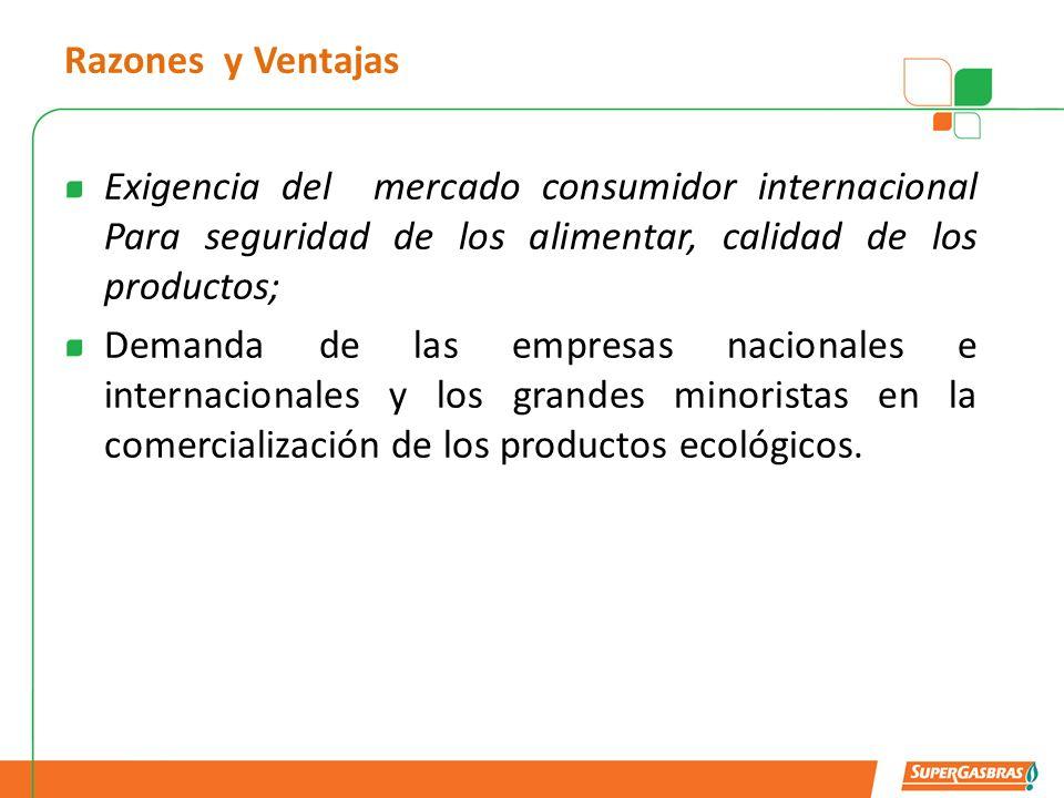 Razones y Ventajas Exigencia del mercado consumidor internacional Para seguridad de los alimentar, calidad de los productos;