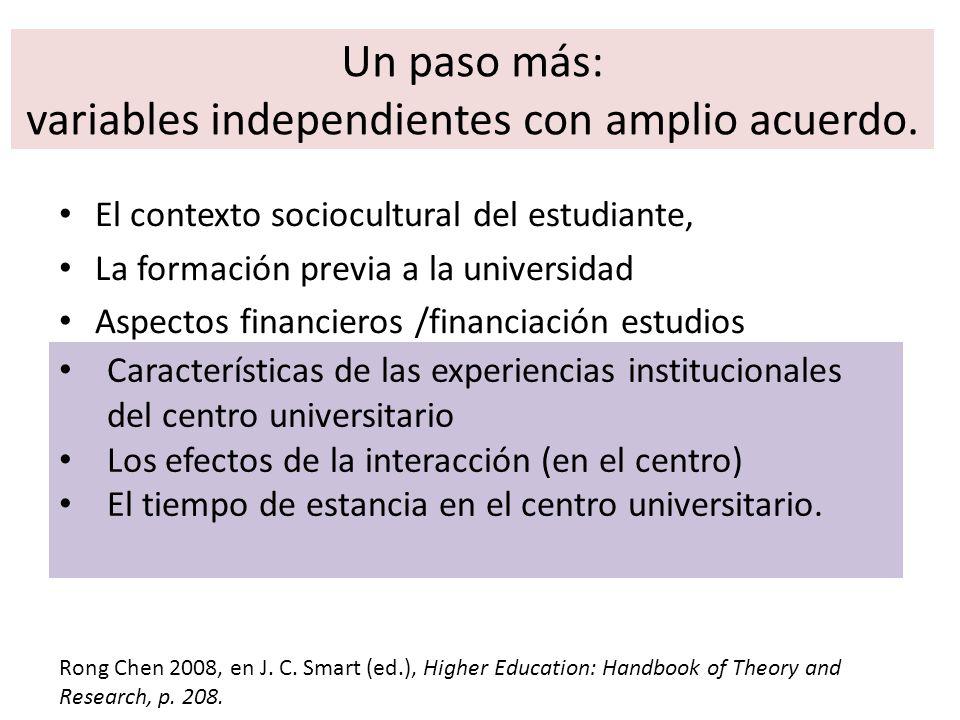 Un paso más: variables independientes con amplio acuerdo.