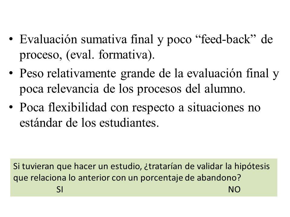 Evaluación sumativa final y poco feed-back de proceso, (eval