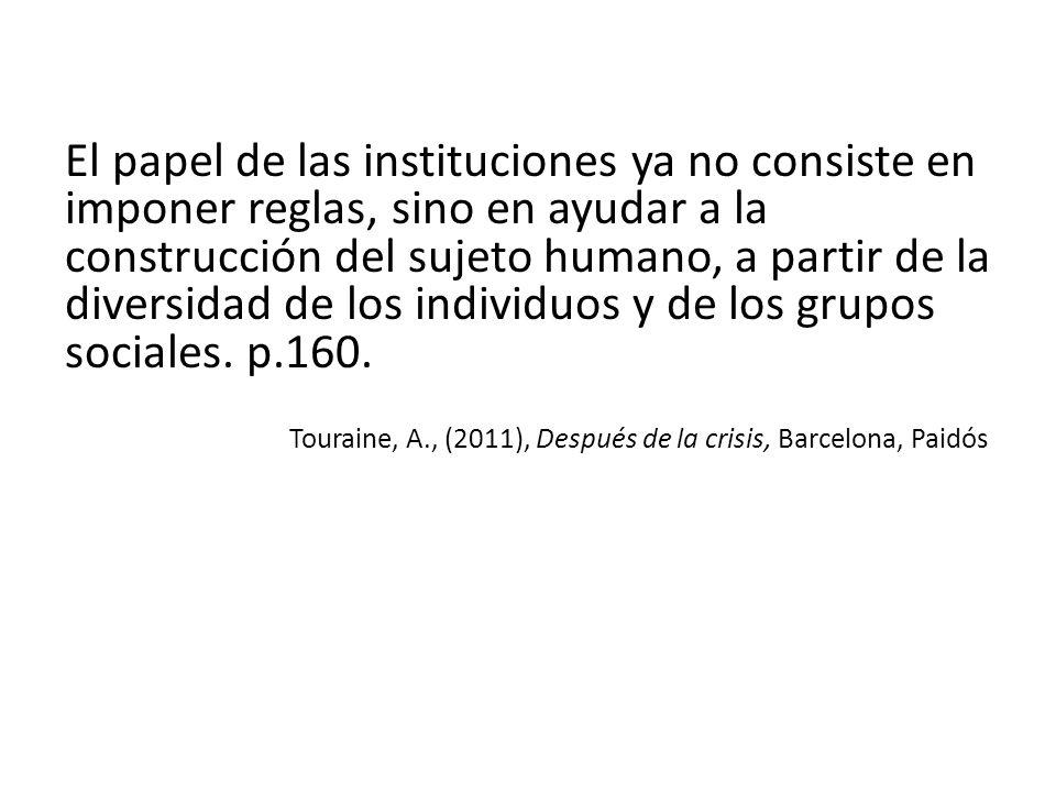 El papel de las instituciones ya no consiste en imponer reglas, sino en ayudar a la construcción del sujeto humano, a partir de la diversidad de los individuos y de los grupos sociales. p.160.