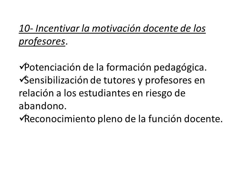 10- Incentivar la motivación docente de los profesores.