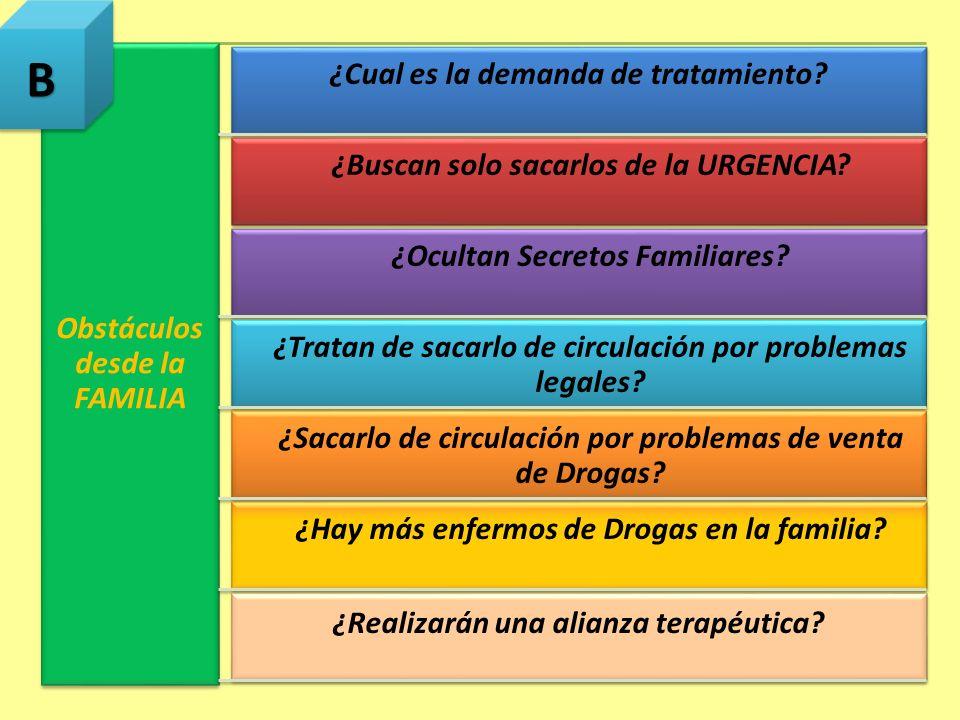 B Obstáculos desde la FAMILIA ¿Cual es la demanda de tratamiento