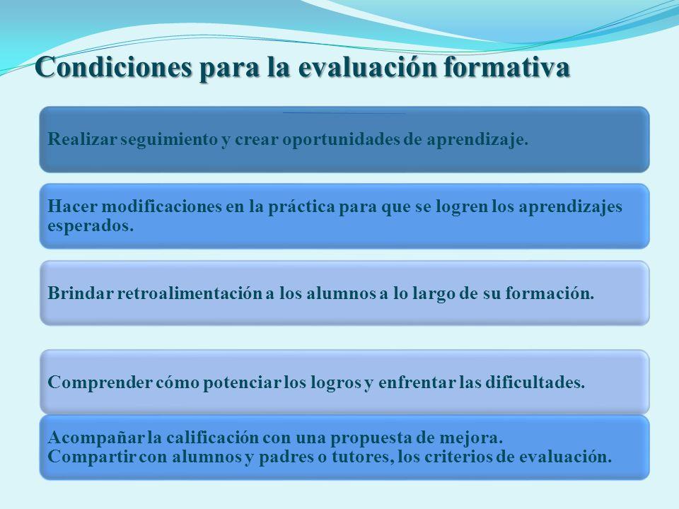 Condiciones para la evaluación formativa