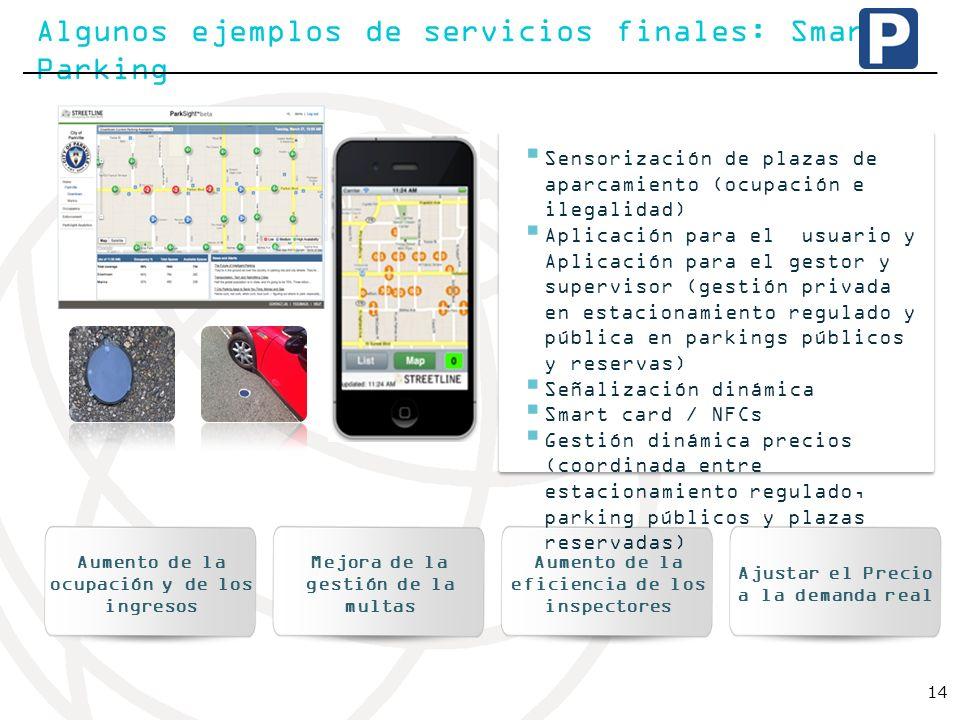 Algunos ejemplos de servicios finales: Smart Parking