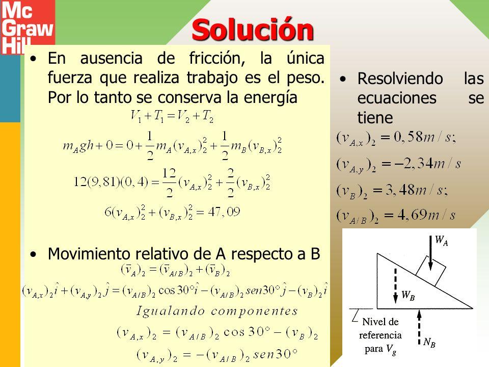 Solución En ausencia de fricción, la única fuerza que realiza trabajo es el peso. Por lo tanto se conserva la energía.