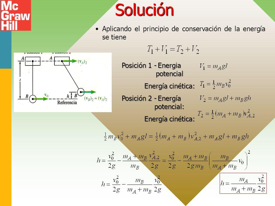 Solución Aplicando el principio de conservación de la energía se tiene