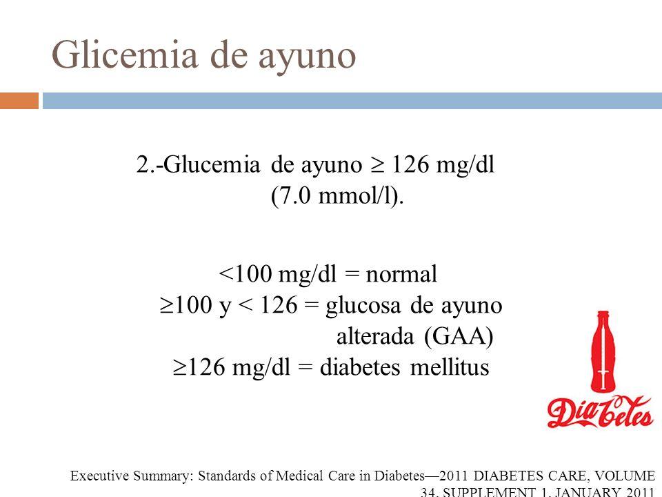 Glicemia de ayuno 2.-Glucemia de ayuno  126 mg/dl (7.0 mmol/l).