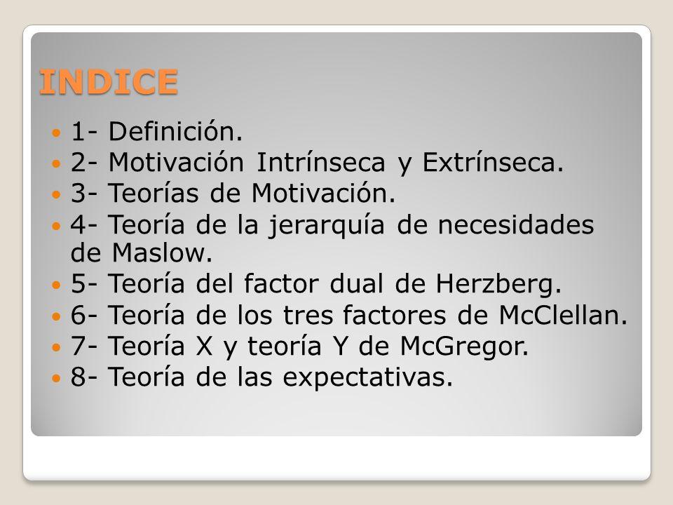 INDICE 1- Definición. 2- Motivación Intrínseca y Extrínseca.