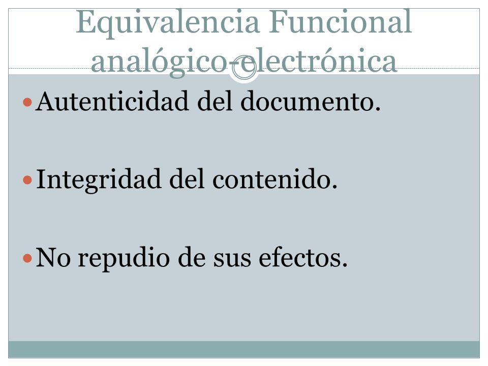 Equivalencia Funcional analógico-electrónica