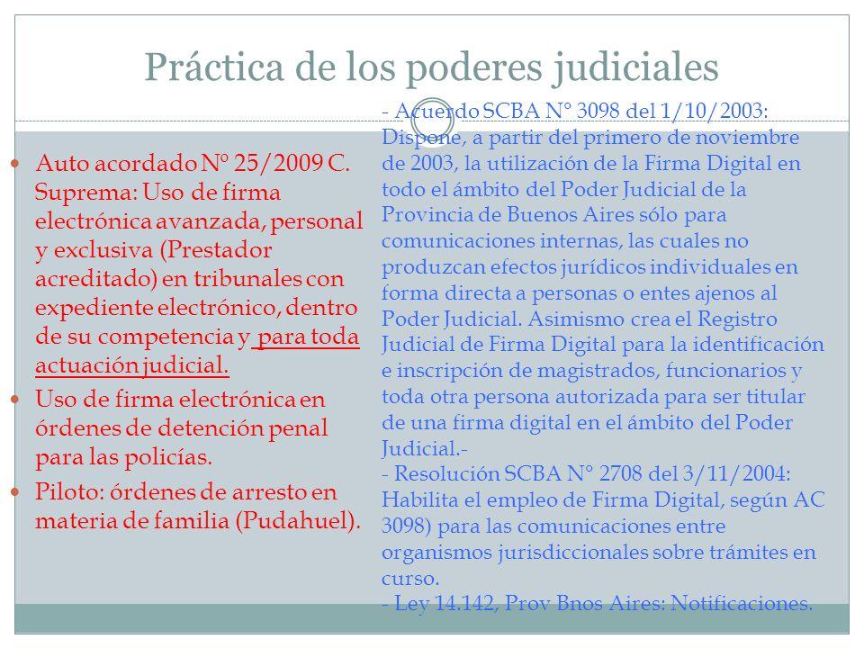 Práctica de los poderes judiciales